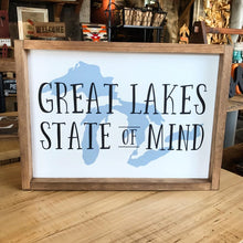 Load image into Gallery viewer, Great Lakes State Of Mind Framed Sign