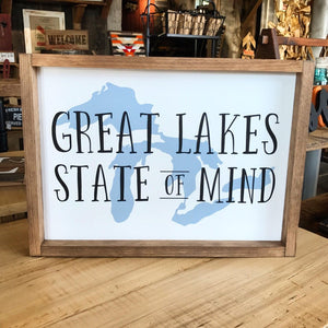 Great Lakes State Of Mind Framed Sign