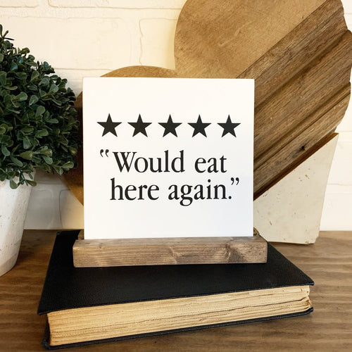 Funny Kitchen Review Mini Tabletop Sign