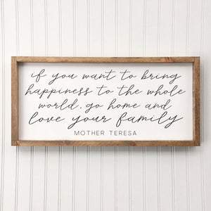 Mother Teresa Quote Framed Sign