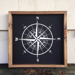 Painted Compass Framed Sign