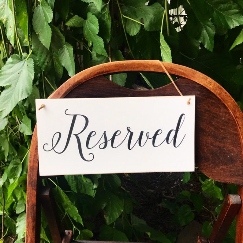 Reserved Hanging Sign