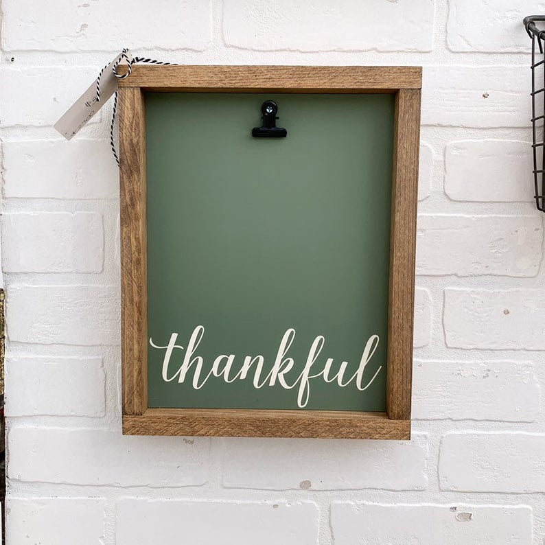 Thankful Picture Clip Framed Sign