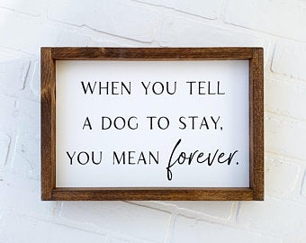 When You Tell A Dog To Stay You Mean Forever Framed Sign