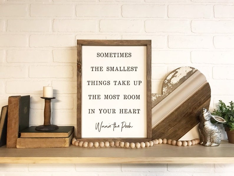 Sometimes The Smallest Things Take Up The Most Room In Your Heart Framed Sign