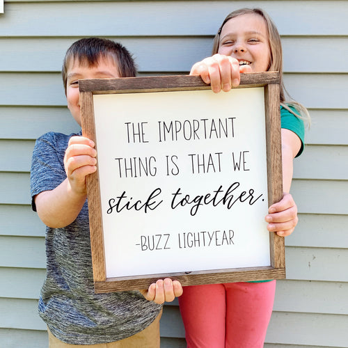 The Important Thing is That We Stick Together Framed Sign
