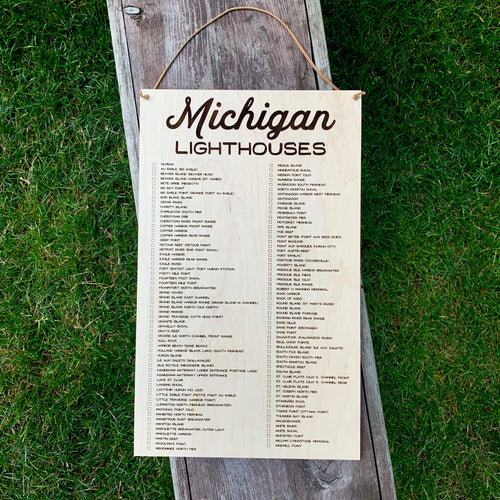 Michigan Lighthouses Checklist Hanging Sign