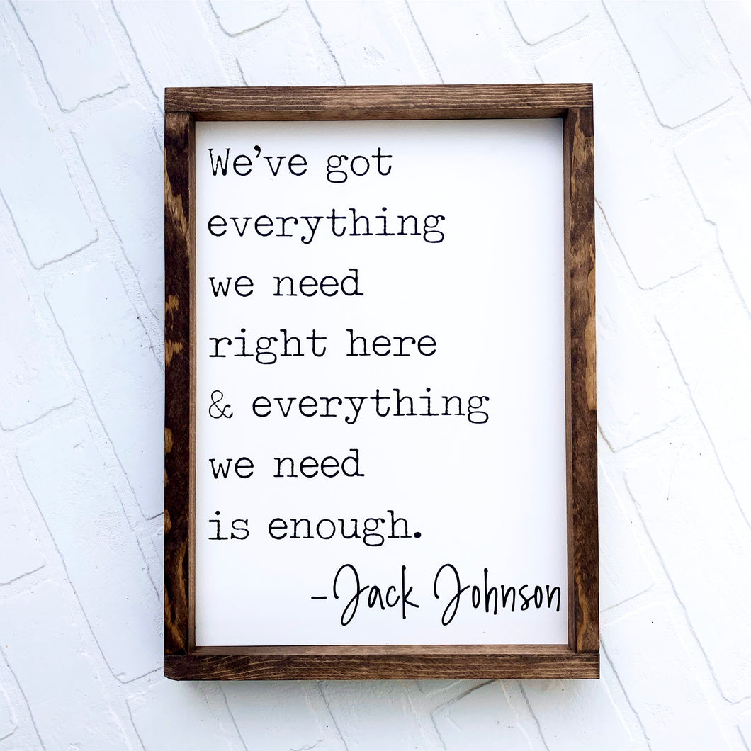 Jack Johnson Framed Sign