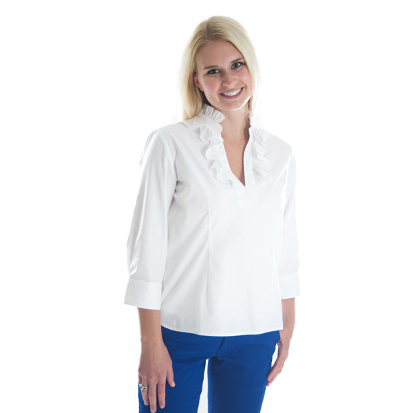 Ibis Roost Ruffle Top - White