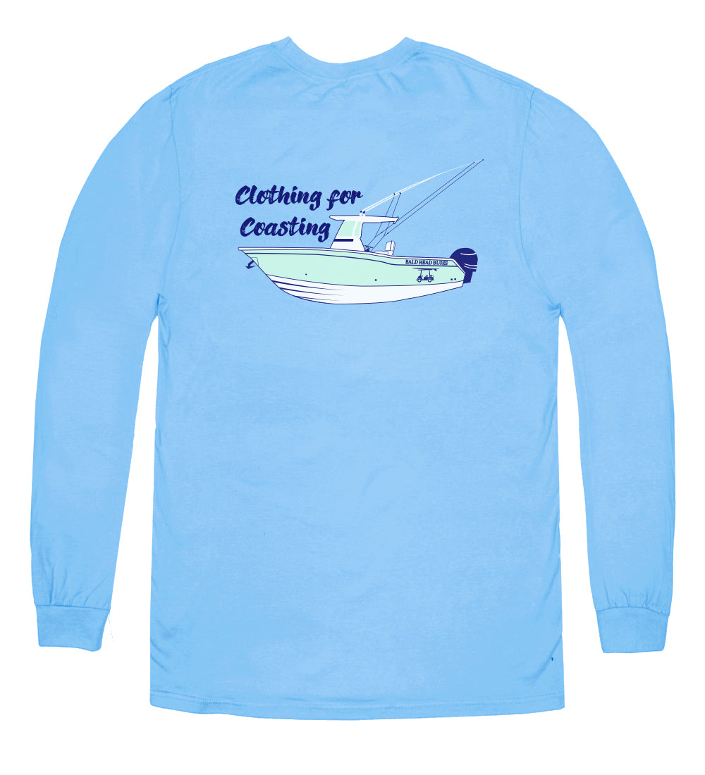 Island Tee - Long Sleeve Fishing Boat - Blue