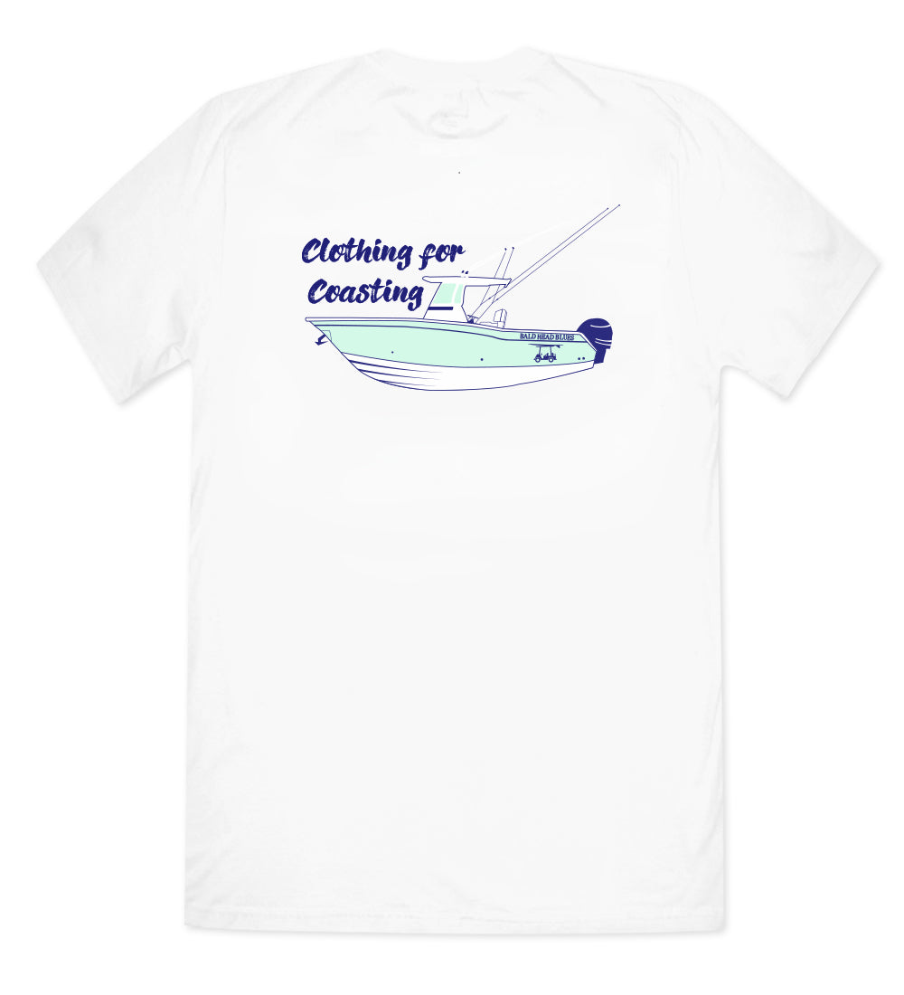 Island Tee - Short Sleeve Fishing Boat - White