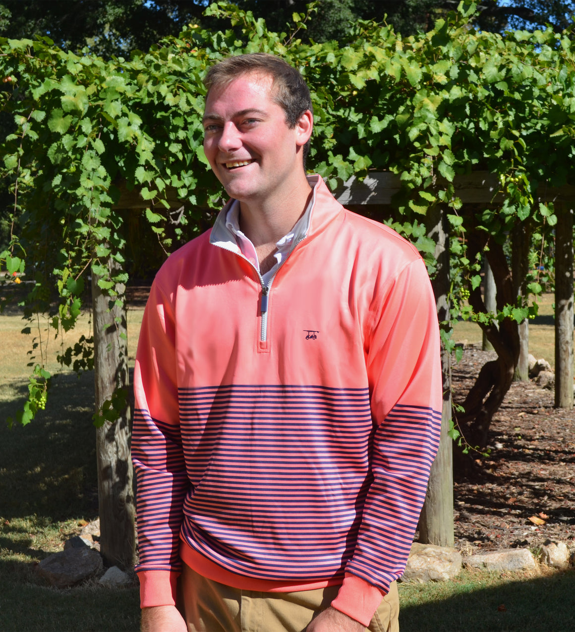 NEW Dogwood Quarter Zip - Coral/Medieval Stripe