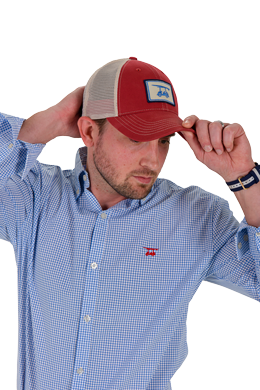 embroidered logo hat in red cool trucker hat bald head blues