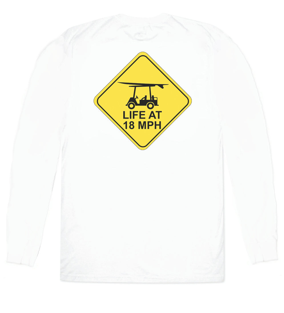 Island Tee - Long Sleeve Life at 18 MPH - White