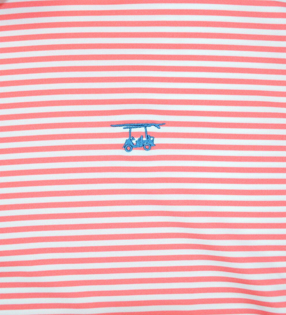 Albatross Polo - Coral/White Stripe