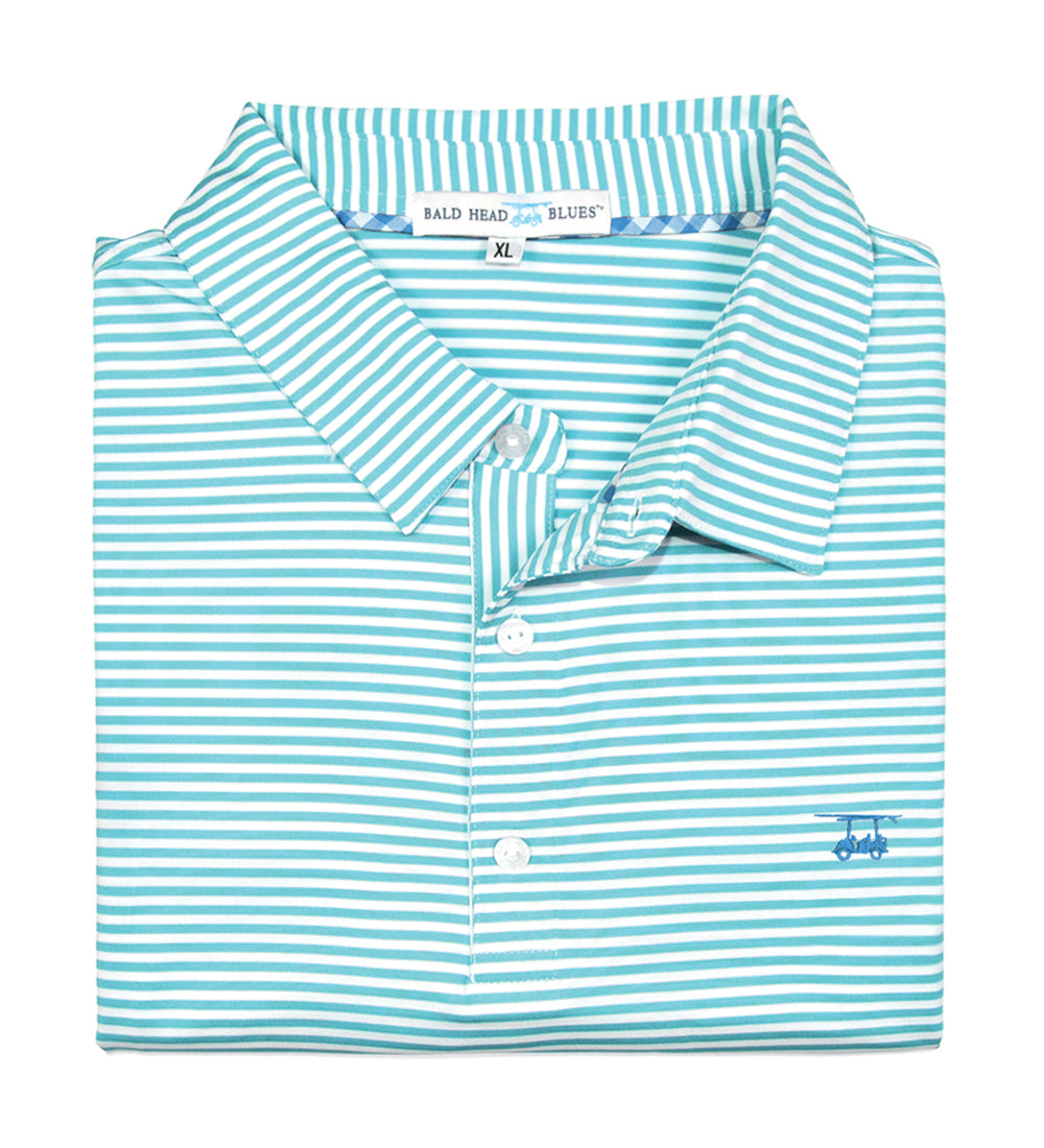 Albatross Polo - Mint/White Stripe