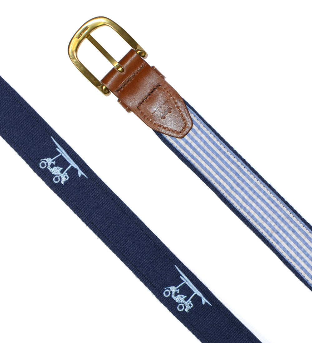 Embroidered Golf Cart Belt - Navy