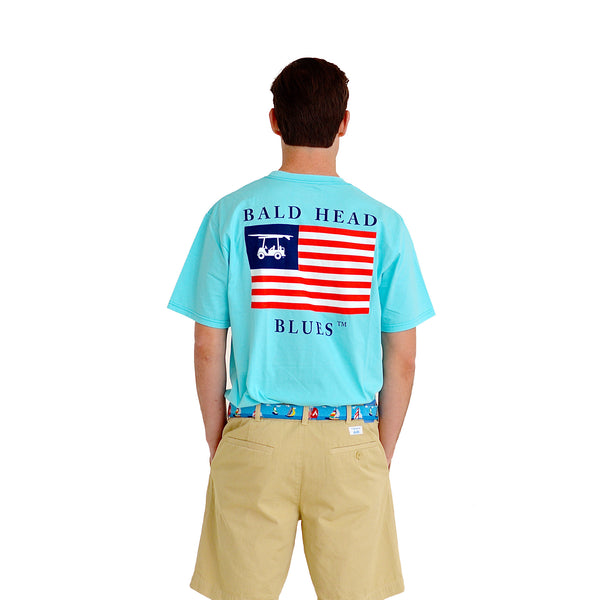 Island Tee - Short Sleeve USA Flag - Aqua