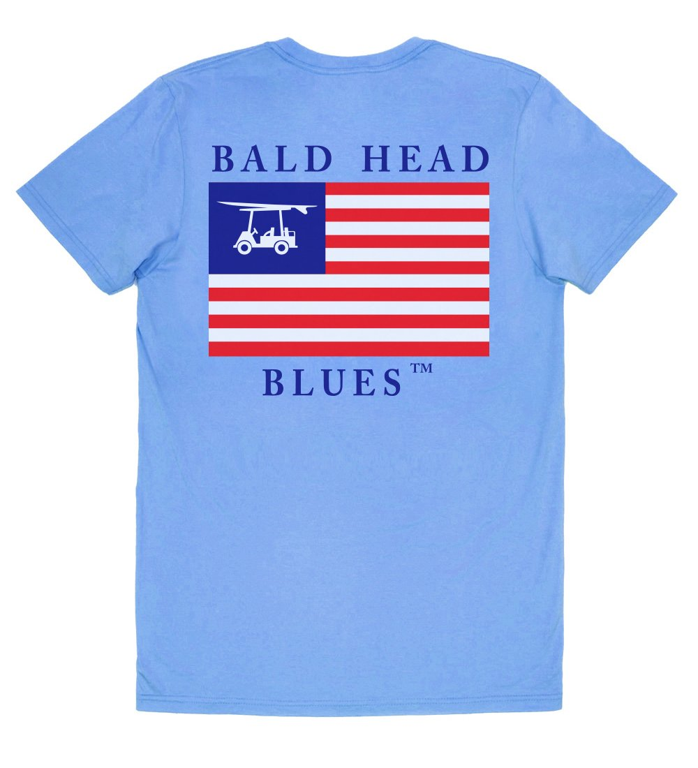Island Tee - Short Sleeve USA Flag - Blue