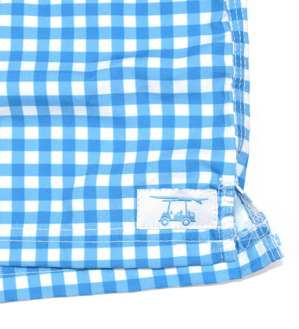 Beach Access Blue Gingham Swim Trunks