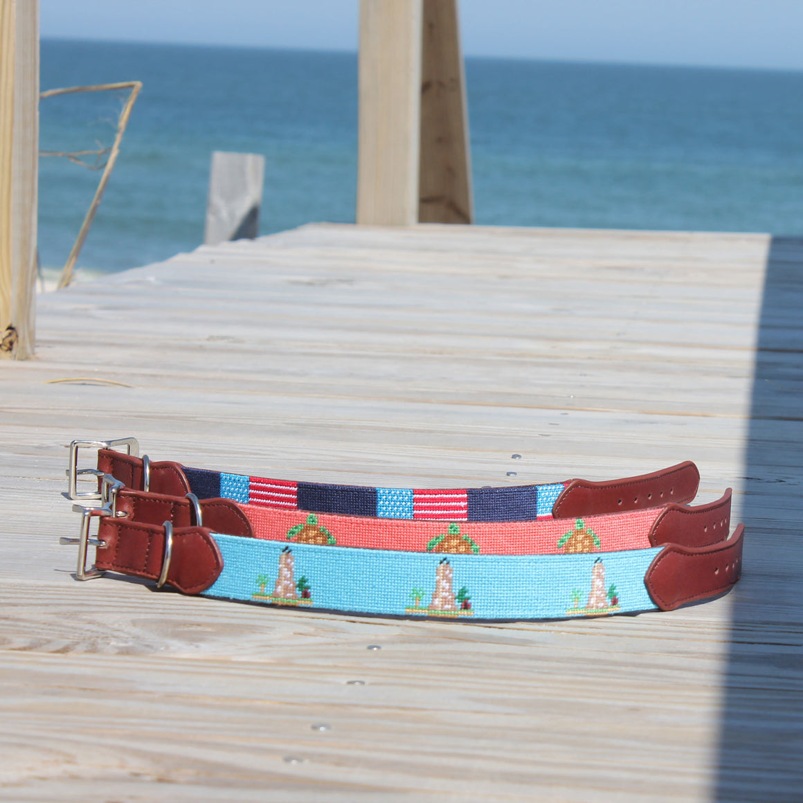 Needlepoint Dog Collar - Sea Turtle
