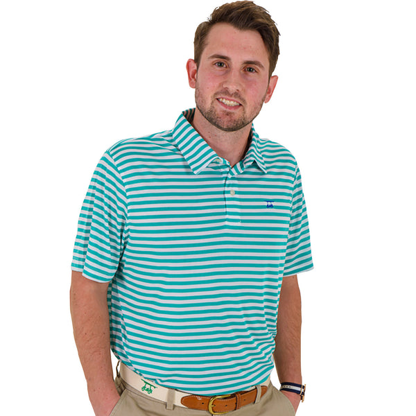 Fairway Polo - Green/White Stripe