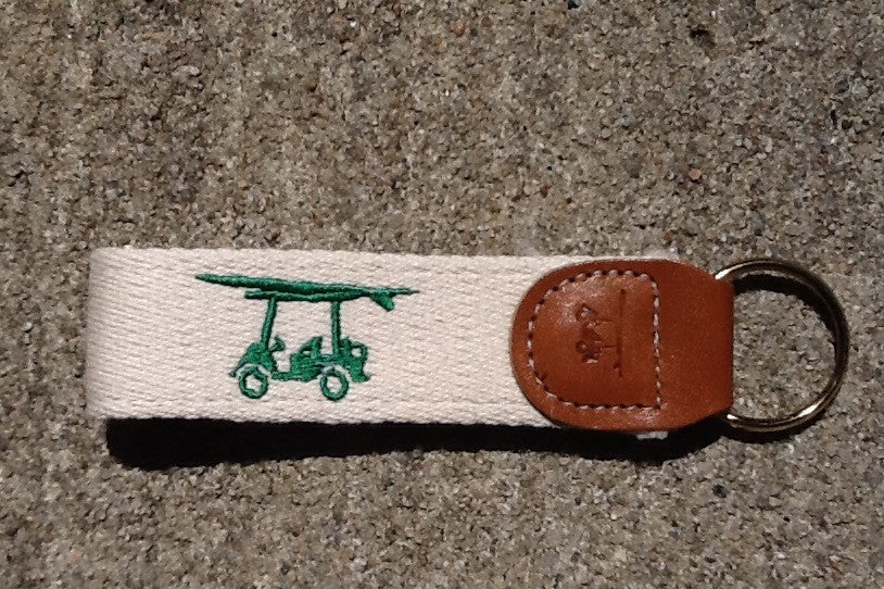 Embroidered Golf Cart Key Fob - Cream w/ Green Cart