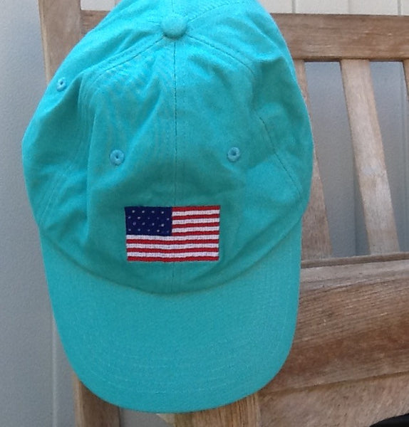 Needlepoint Hat - USA Flag - Turquoise