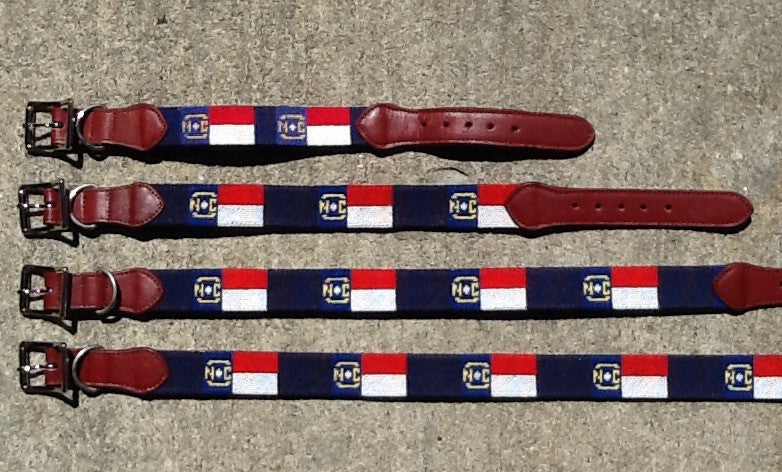 Needlepoint Dog Collar - NC Flag