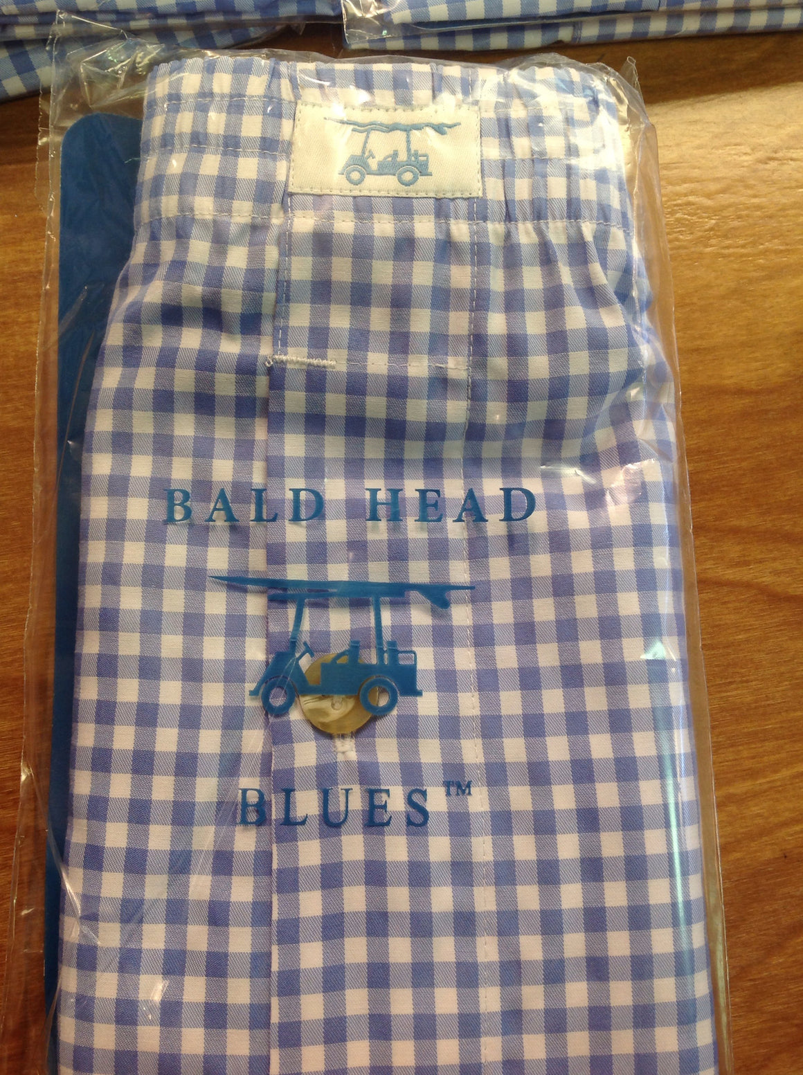 Bald Head Blues Boxer Shorts - Blue Gingham