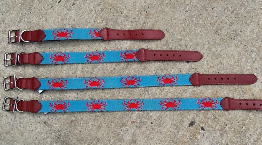 Needlepoint Dog Collar - Crab
