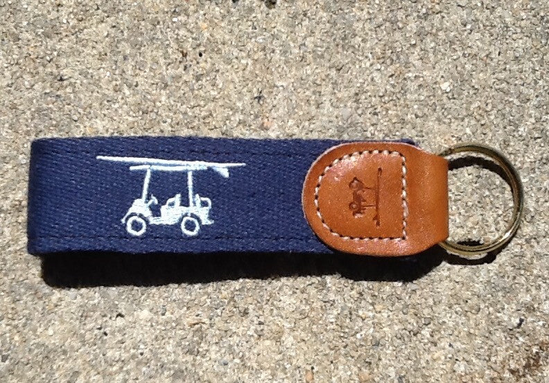 Embroidered Golf Cart Key Fob - Navy