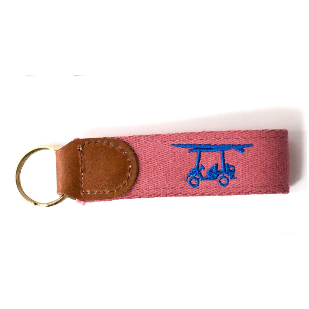 Embroidered Golf Cart Key Fob - Salmon