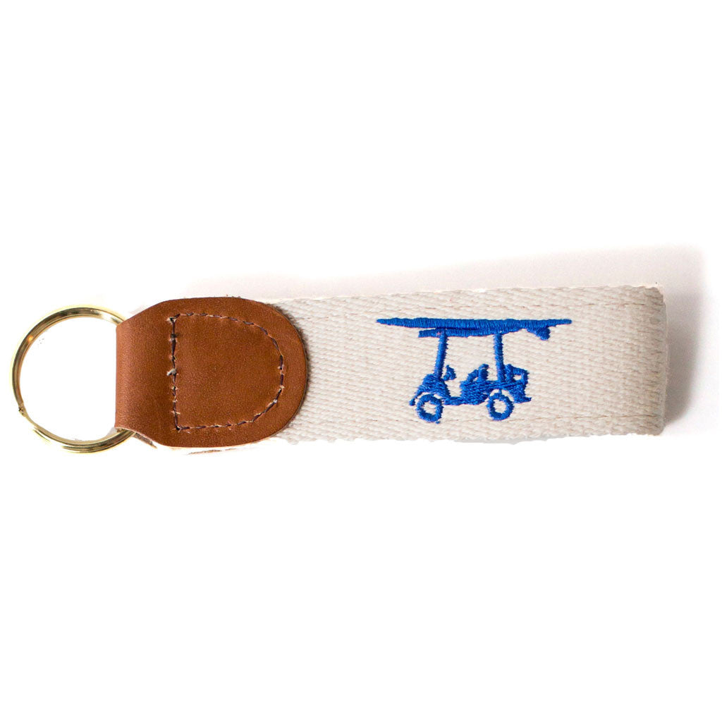 Embroidered Golf Cart Key Fob - Cream w/ Blue Cart