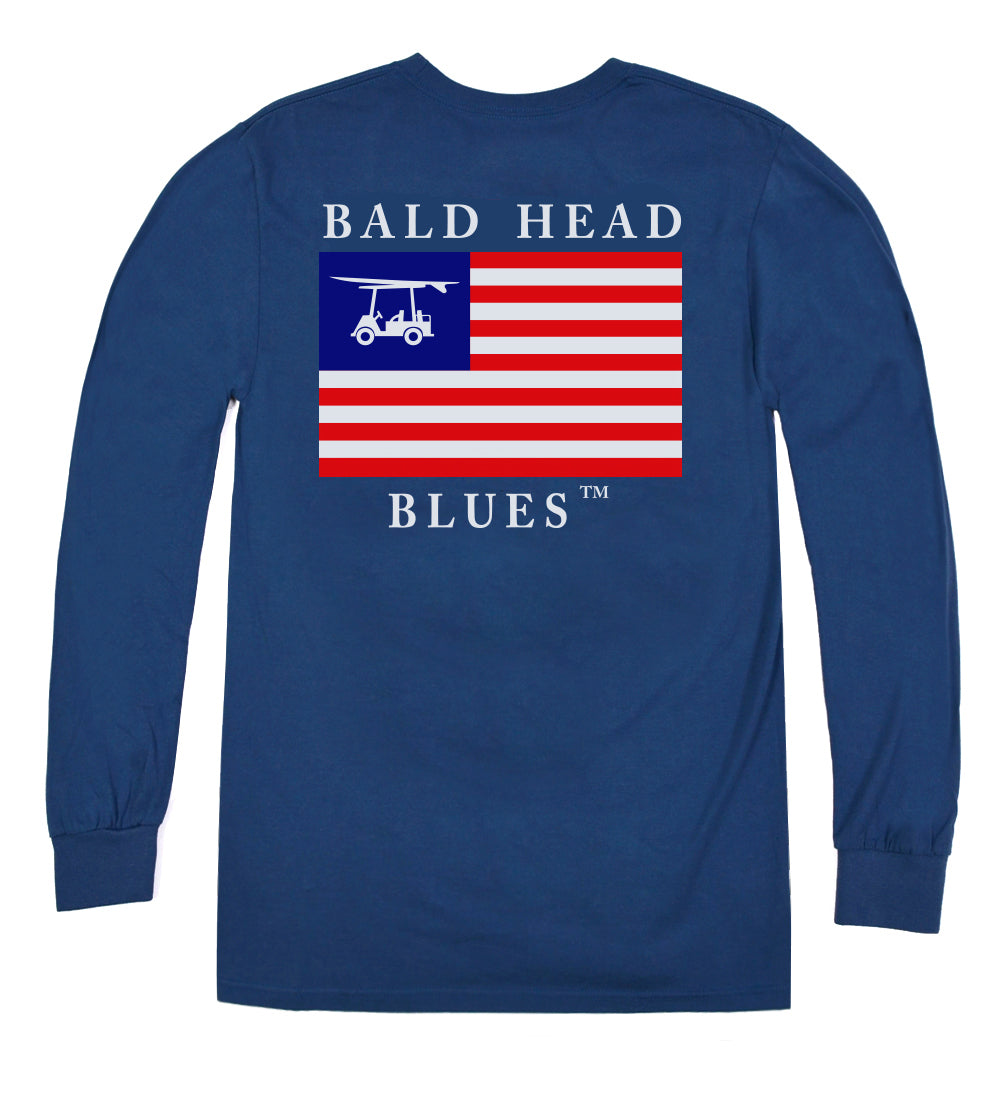 Island Tee - Long Sleeve USA Flag - Navy