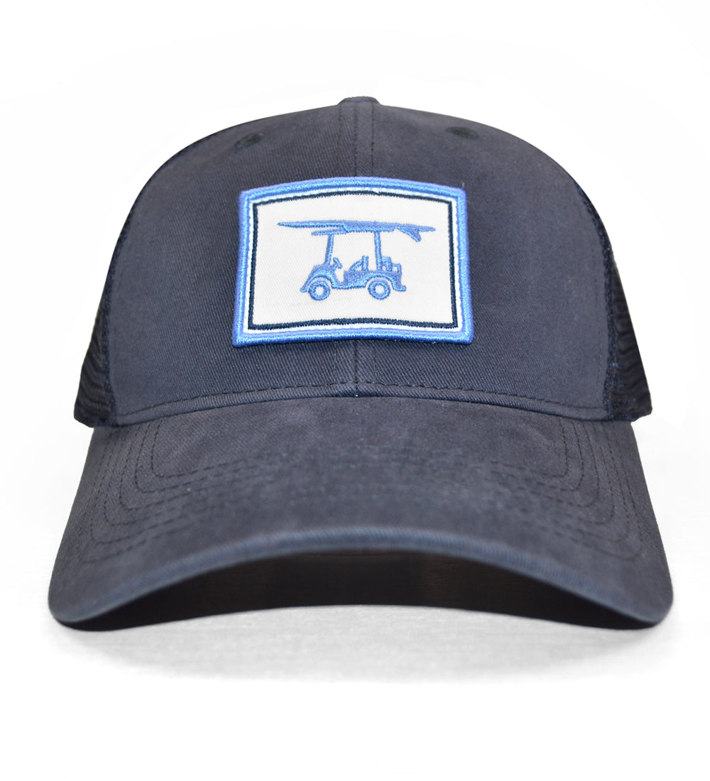 55cb15bd22fa7 Navy Mesh Trucker Hat - Embroidered Logo Hat - Bald Head Blues