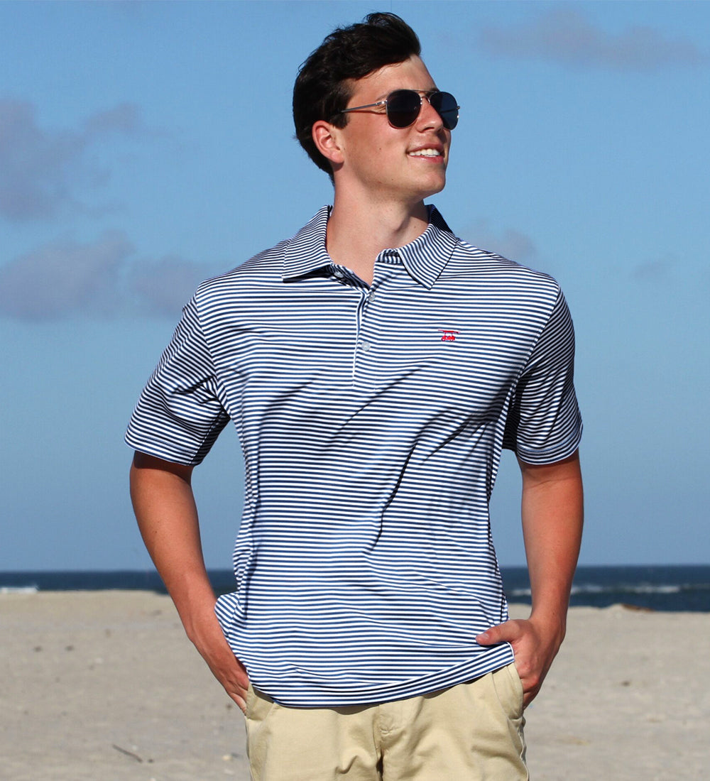 NEW Albatross Polo - Navy/White Stripe