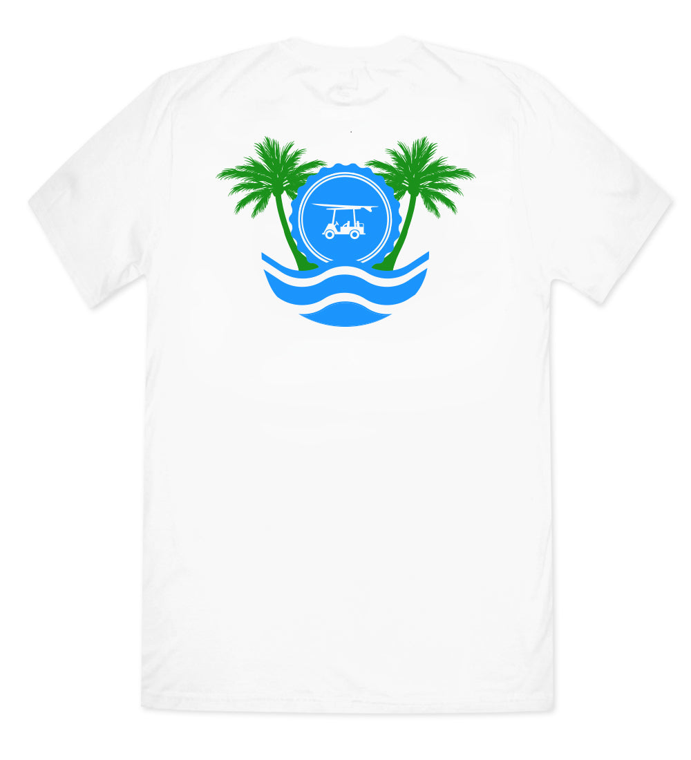 Island Tee - Short Sleeve Palm Trees - White