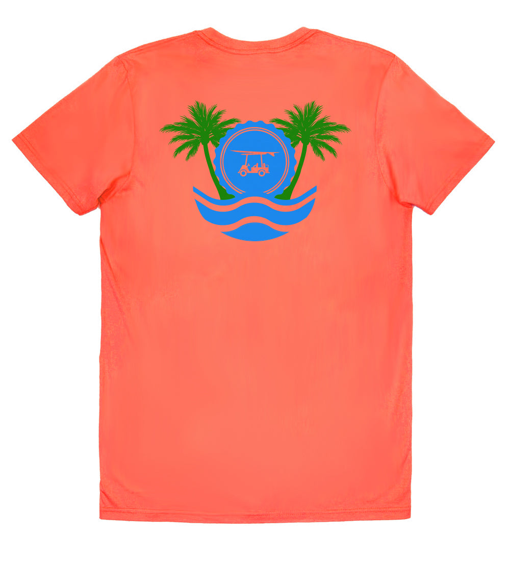 Island Tee - Short Sleeve Palm Trees - Orange
