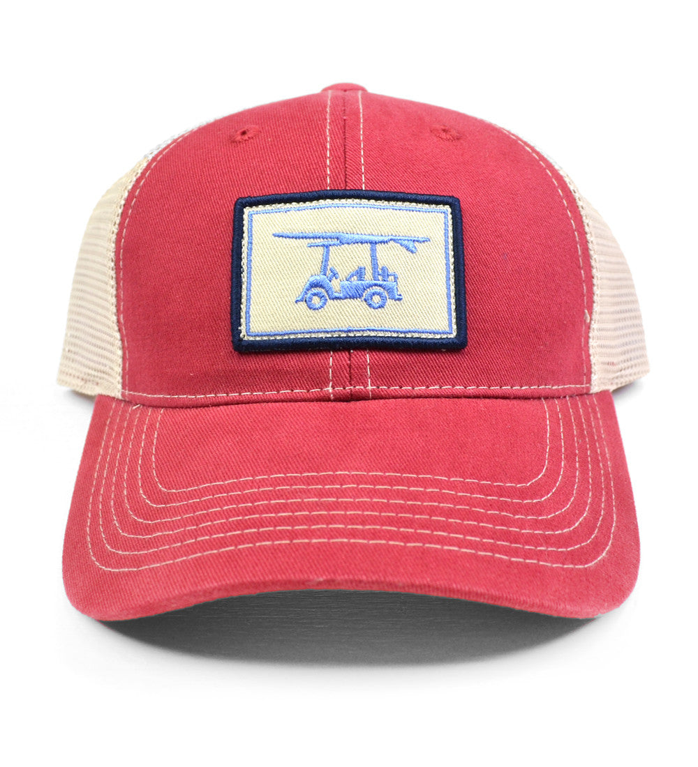 5861e9267ea Embroidered Logo Hat in Red - Cool Trucker Hat - Bald Head Blues
