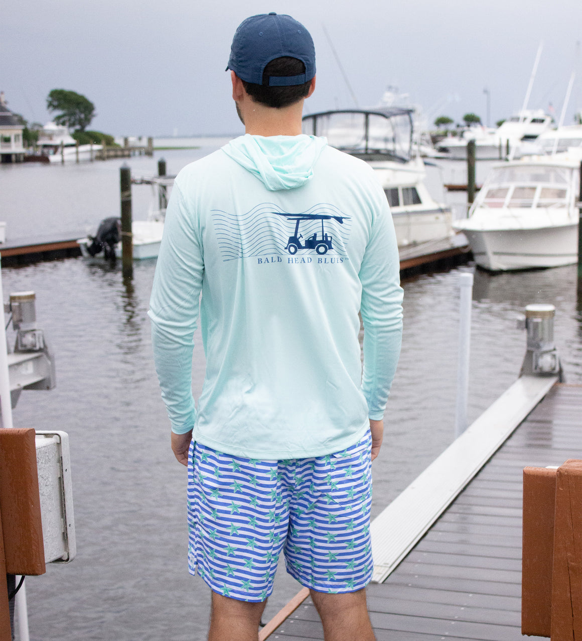 NEW Starfish on Ultramarine Stripes Swim Trunks
