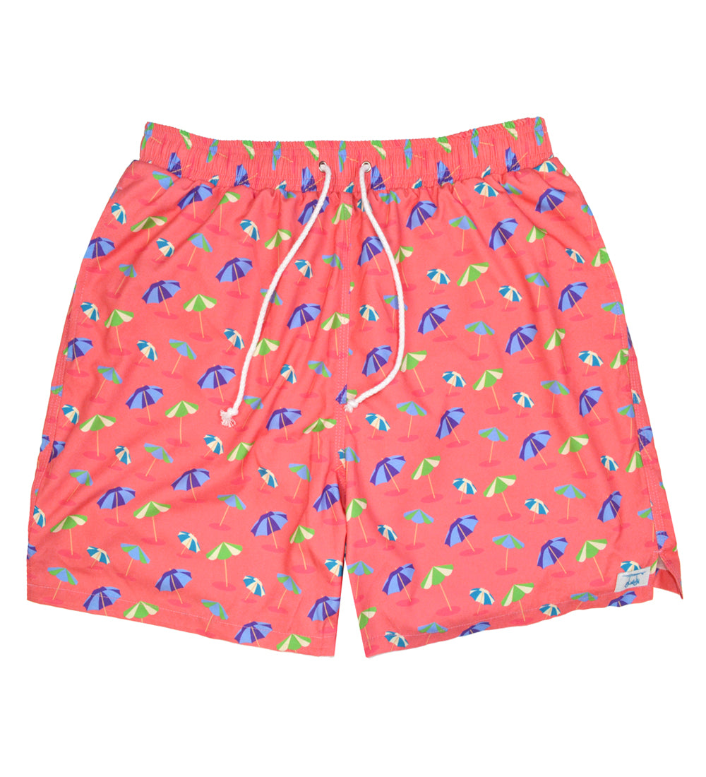 Coral Umbrella Swim Trunks