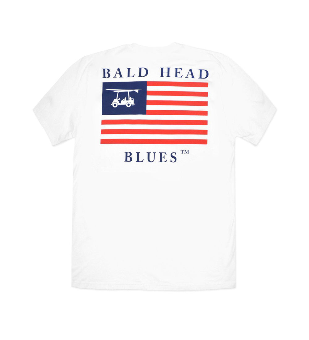 Island Tee - Youth Short Sleeve - White USA Flag
