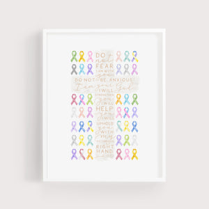 Cross + Cancer Ribbons | Isaiah 41:10 | Art Print