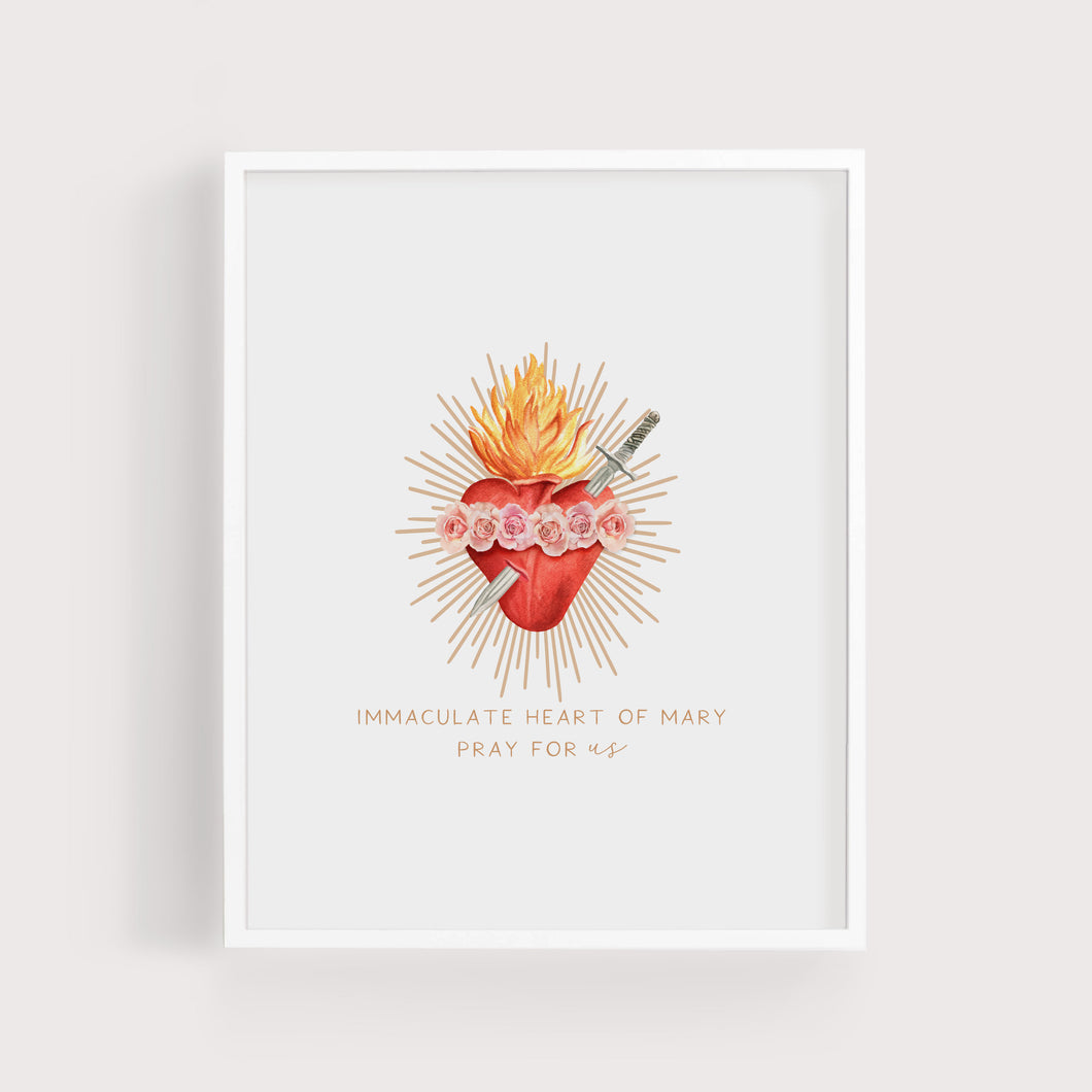 Immaculate Heart of Mary Pray for Us | Art Print