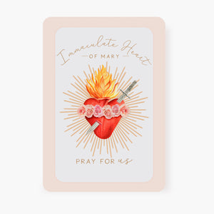Immaculate Heart of Mary Prayer Card | Beige