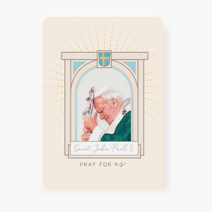 St. John Paul II Prayer Card | Banner Design | Beige