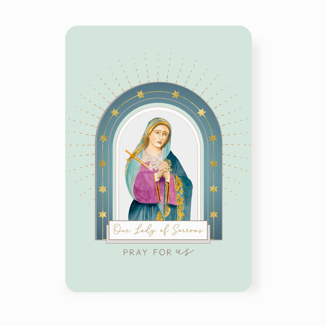 Our Lady of Sorrows Prayer Card | Mint Green