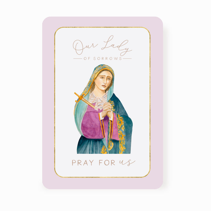 Our Lady of Sorrows Prayer Card | Pray For Us | Light Purple