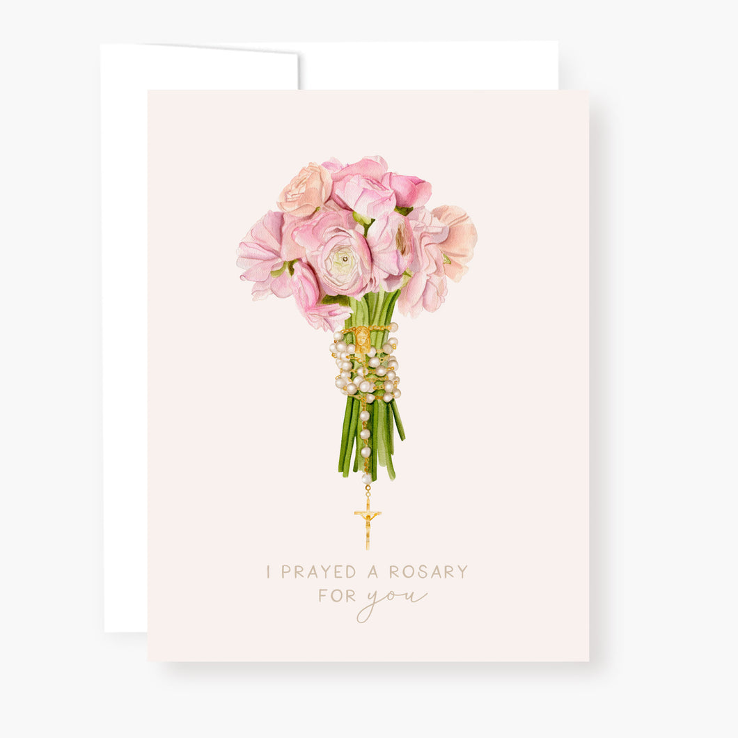 Rosary Card | Bouquet | Pink Ranunculus